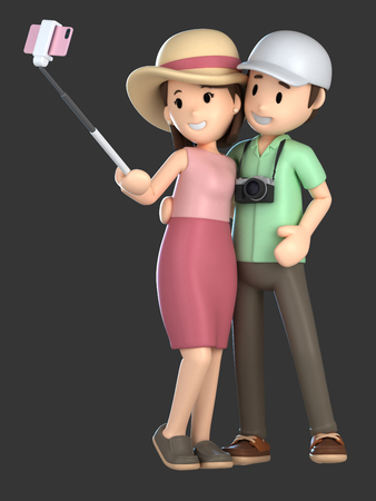 3d render of a couple taking a selfie on a vacation; Standard-Bild - 101100608