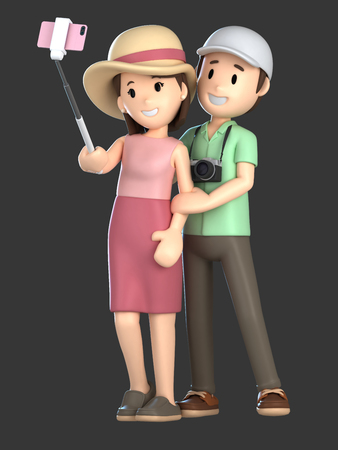 3d render of a couple taking a selfie on a vacation; Standard-Bild - 101106391