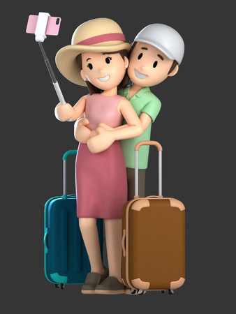 3d render of a couple taking a selfie on a vacation; Standard-Bild - 101071912