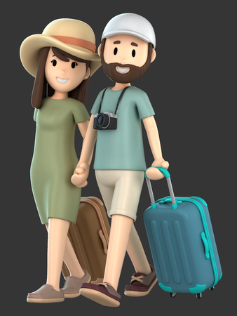 3d render of a couple taking a vacation holding hands Фото со стока