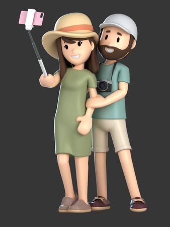 3d render of a couple taking a selfie on a vacation; Standard-Bild - 101100610