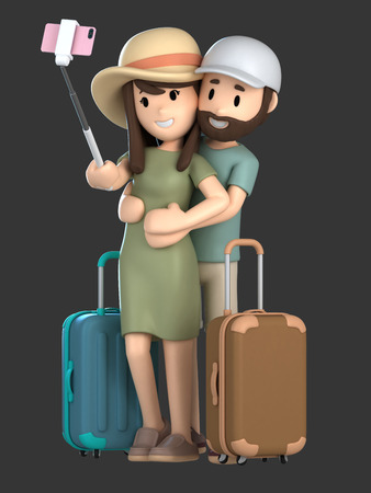 3d render of a couple taking a selfie on a vacation;