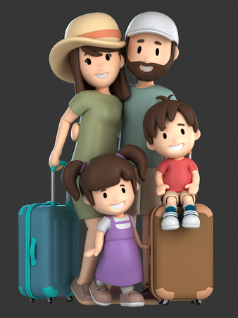 3d render of a family on a vacation Standard-Bild - 101100611