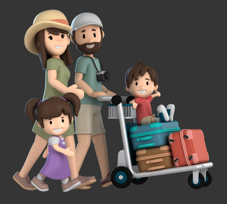 3d render of a family traveling for a vacation Standard-Bild - 101071915