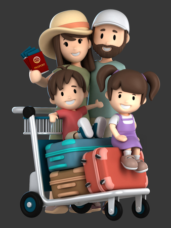 3d render of a family traveling for a vacation Standard-Bild - 101071917