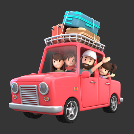 3d render of a family riding in a car for a vacation