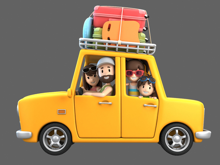 3d render of a family riding in a car for a vacation Standard-Bild - 101100856