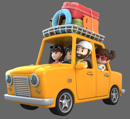 3d render of a family riding in a car for a vacation Standard-Bild - 101146866