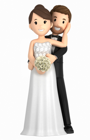3d illustration of a newly wed couple Фото со стока