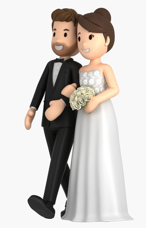 3d illustration of a newly wed couple walking