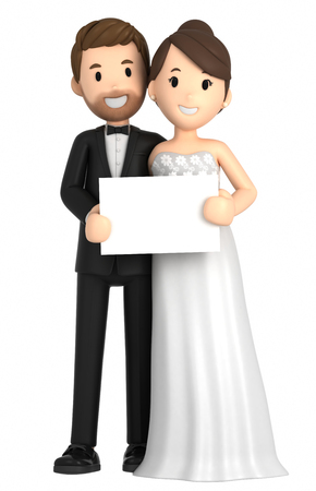 3d illustration of a newly wed couple holding a blank board