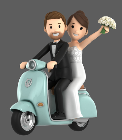 3d illustration of a newly wed couple riding a bicycle