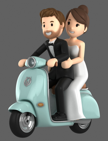 3d illustration of a newly wed couple riding a bicycle Standard-Bild - 105192719