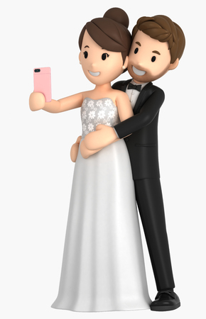 3d illustration of a newly wed couple taking a selfie Фото со стока