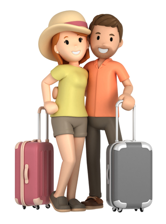 3d render of a couple taking a vacation Фото со стока