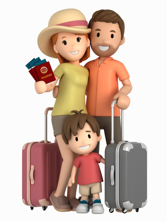 3d render of a family having a vacation trip Archivio Fotografico - 106375840