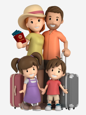 3d render of a family having a vacation trip