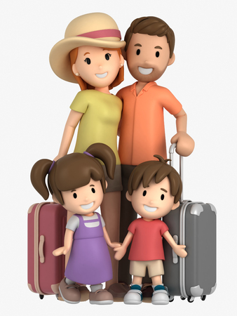 3d render of a family on a vacation