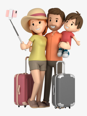 3d render of a family taking selfie on a vacation Фото со стока