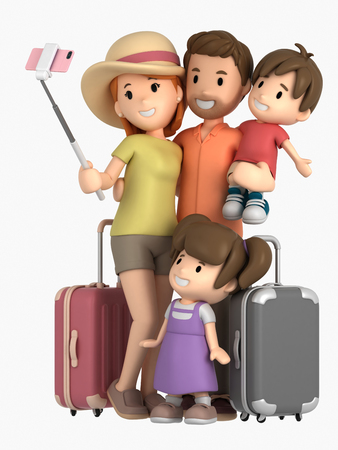 3d render of a family taking selfie on a vacation Standard-Bild - 104667503