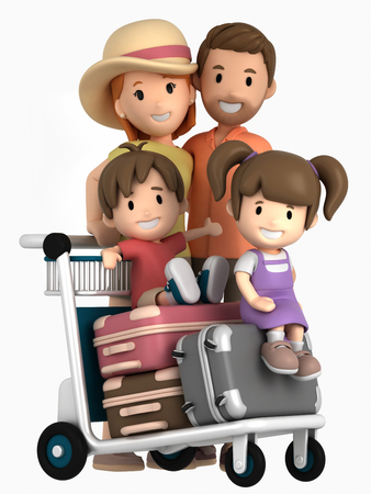 3d render of a family traveling for a vacation
