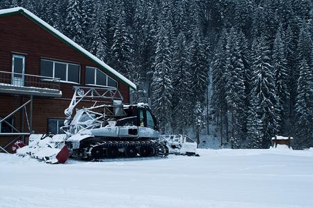 snowcat: Snowcat on ski resort in snowy weather Stock Photo
