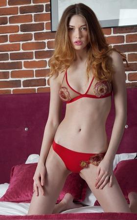 tetona: mujer morena tetona hermosa en ropa interior roja atractiva acostado en una cama