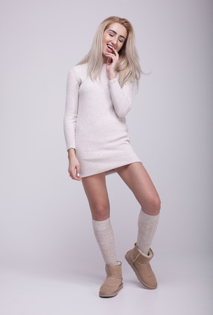 Fashion winter boots. Warm winter womens clothing. Casual style.