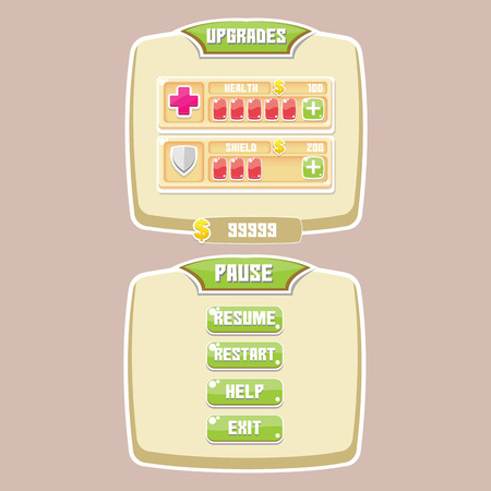 Menu Games UI set buttons screen game play, easy to edit and enjoy !