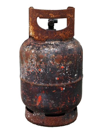 Gas tank damage by fire Stock Photo