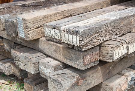 sleeper: Old wood sleeper close up texture