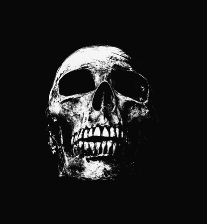 front side: Front side view of human skull on isolated black background