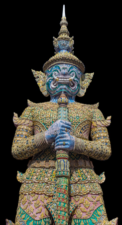 grand pa: Demon Guardian Wat Phra Kaew Grand Palace Temple of the Emerald BuddhaBangkok THAILAND with isolate, clipping path Stock Photo