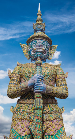 stu: Demon Guardian Wat Phra Kaew Grand Palace Temple of the Emerald BuddhaBangkok THAILAND with sky background , clipping path