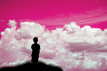 Abstract symbol idea. Where my parents, A lonely boy looking at pink sky and think....