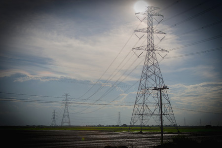 Abstract symbol idea, Power from Solarto Home ,High voltage light pole with sunlight on cornfield, Silhouette Stock fotó