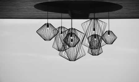 Modern style iron lamp for decorating, monochrome