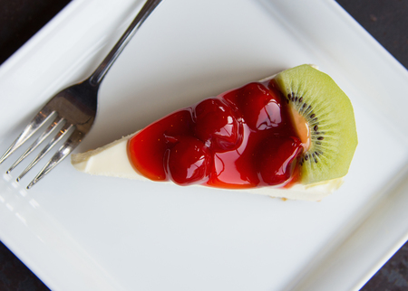 Cookie Cheesecake, Jam strawberries and kiwi fruit.
