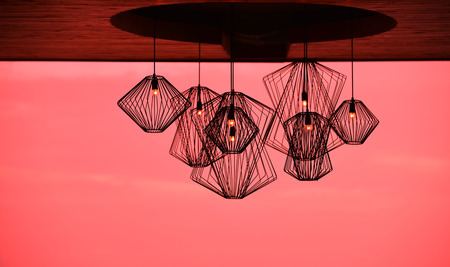 Modern style iron lamp for decorating, dye red sky.