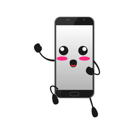vector illustration of cute smartphone mascot or character reading book. cute smartphone Concept White Isolated. Flat Cartoon Style Suitable for Landing Page, Banner, Flyer, Sticker.