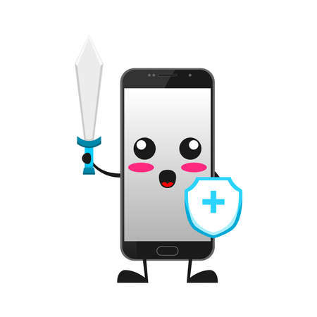 vector illustration of cute smartphone mascot or character holding money sack. cute smartphone Concept White Isolated. Flat Cartoon Style Suitable for Landing Page, Banner, Flyer, Sticker.