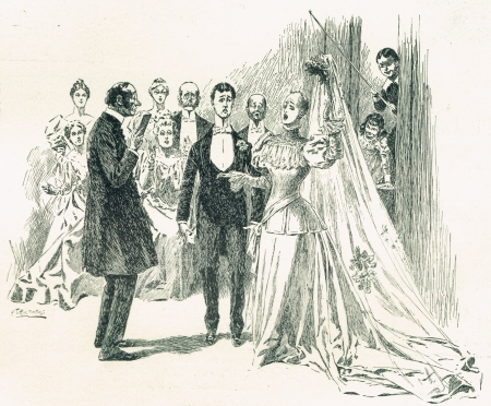 19th century: A 19th century black and white sketch of a Victorian man and a woman - the bride and groom at the altar getting married by a priest  Behind the bride, young pranksters pull off the wig and veil