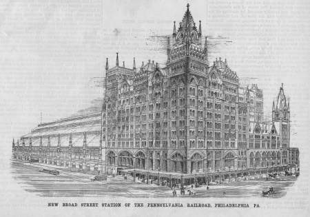 informational: The Pennsylvania Railroad Station in Philadelphia at New Broad Street  An architectural sketch of an American Landmark during Victorian times  Grand, iconic, beautiful, grand building