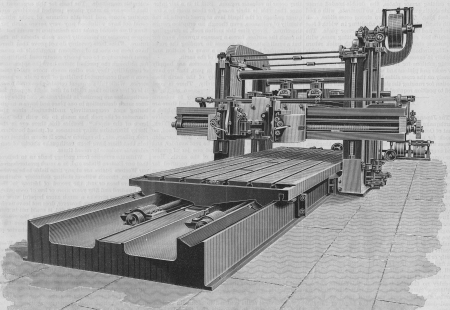 Industrial Revolution Factory Machine dominates the wood floor  The huge saw, log, wood cutter has pipes and presses  The machine create American made goods during the Victorian Era  photo
