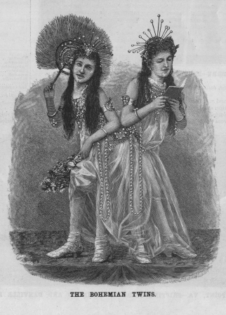 The Bohemian Twins  Conjoined twins also known as Siamese Twins pose in fashionable Victorian vintage sketch  One has a fan and one reads a book  Crowns, pearls and jewelry make them look fancy