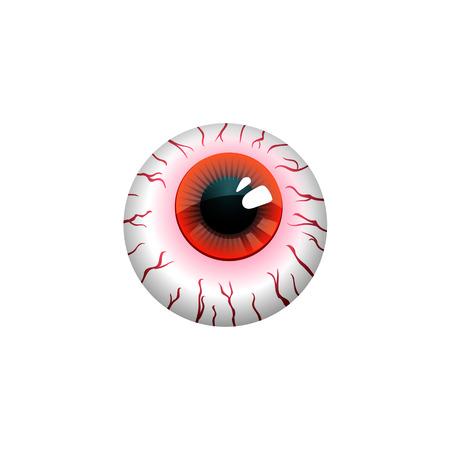 sclera: Halloween eyeball vector symbol isolated on white background.