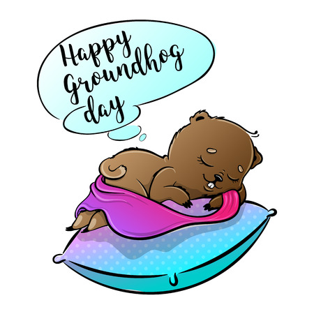 Happy Groundhog Day Vector Design with Cute Marmot Character Illustration