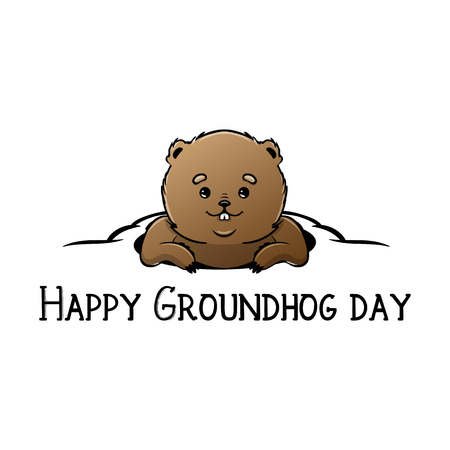 Happy Groundhog Day Vector Design with Cute Marmot Character Stock Photo