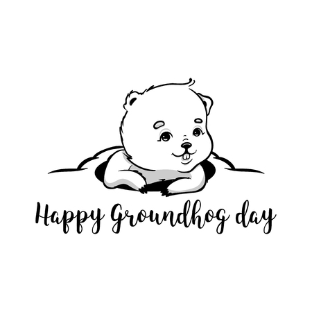 burrow: Happy Groundhog Day Vector Design with Cute Marmot Character Stock Photo