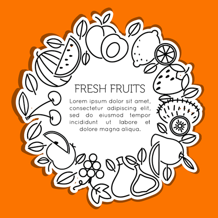 The frame of the line of icons of fruits and berries. Eco, organic and vegan food.